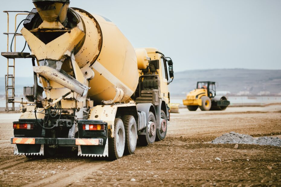 Industrial Cement truck on highway construction site.