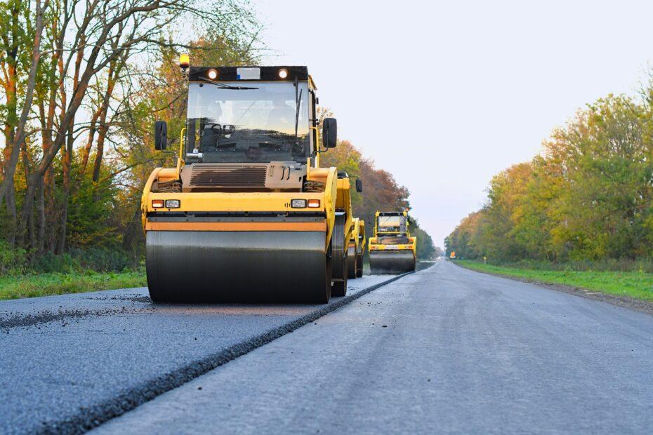 road roller working